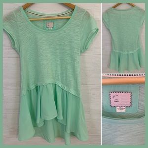 Anthropologie Postmark Mint Chiffon Knit Top, XS